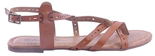 AgeeMi Shoes Women Solid Buckle PU No-Heel Open-Toe Sandals Brown ARZkrt
