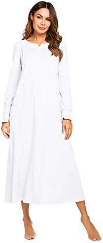 Ekouaer Nightgown Womens Long Sleeve Warm Sleepwear V-Neck Lace Victoiran Loungewear S-XXL