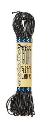Darice Metallic Plastic Canvas Cord - Black and Silver - 27 yards