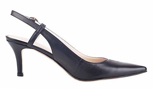Buckle black Strap Leather Mid Genuine Heel Slingback Toe Women's A Shoes Pumps Pointed queenfoot 4YOwaqx