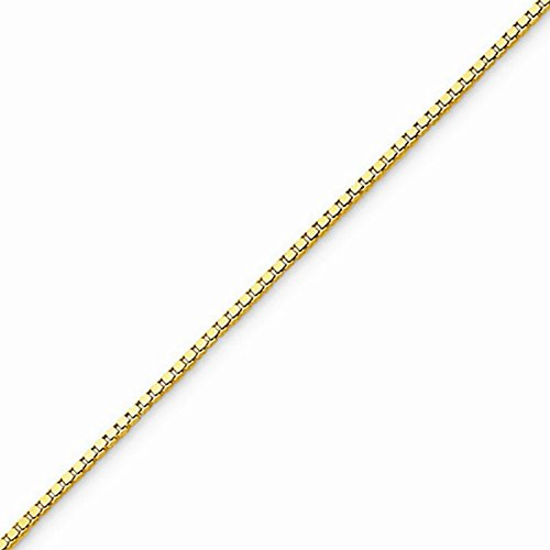 10k Gold Solid Box Chain Necklace with Lobster Clasp (0.8mm) - Yellow-Gold, 20 in