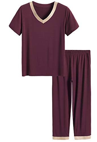 Latuza Women's V-Neck Sleepwear Short Sleeves Top with Pants Pajama Set (2X Plus, Wine Red)