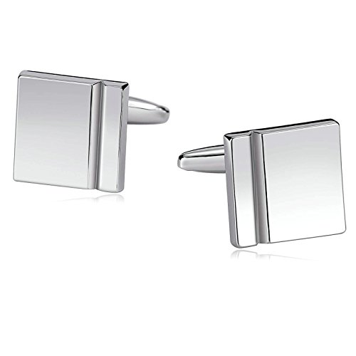 AmDxD Jewelry Stainless Steel Cuff Links for Mens Polished Square Line Silver (Circa Vintage Suit)
