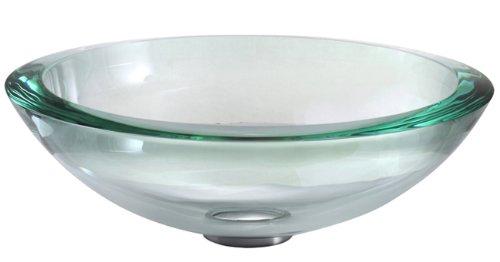 Kraus GV-150-19mm-CH Clear 34mm edge Glass Vessel Bathroom Sink with PU-MR Chrome