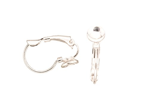 Earring Findings, Lever-Backs, 5.5mm Cup, Silver-Plated Brass, 19x12.3mm sold per pack of 10