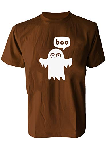 SODAtees Cute Ghost Boo Men's T-Shirt Spooky Funny Halloween Graphic Tee -