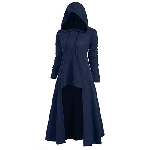 XILALU Women Casual High Low Dress,Plus Size Lace Up Loose Halloween Casual Long Sleeve Solid Hooded Costume (Blue D, XXX-Large)]()