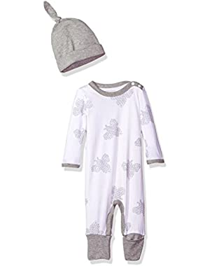 Boys' Convertible Foot Organic Coverall with Hat