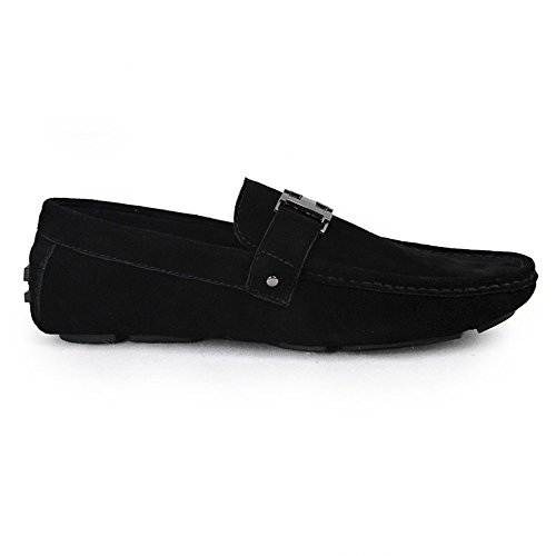 on Loafers Slip Mens Men's Shoes Leather Black Fulinken xHfq4TI