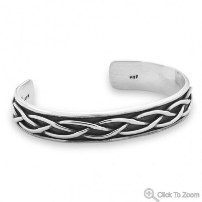 Oxidized Cuff (Oxidized Sterling Silver Braided Men's Cuff Bracelet)