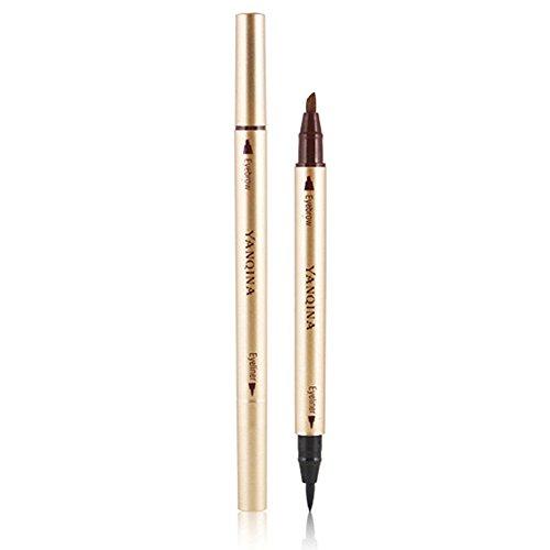 Gracefulvara Waterproof Eye Brow Eyeliner Liquid Eyebrow Pen Pencil Makeup Cosmetic Tools (black + light coffee)