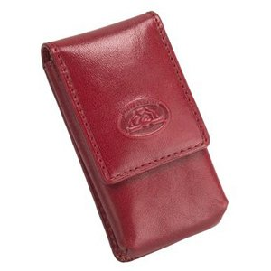 Tony Perotti Womens Italian Bull Leather Top Flap Double Lipstick Case with Mirror in Red