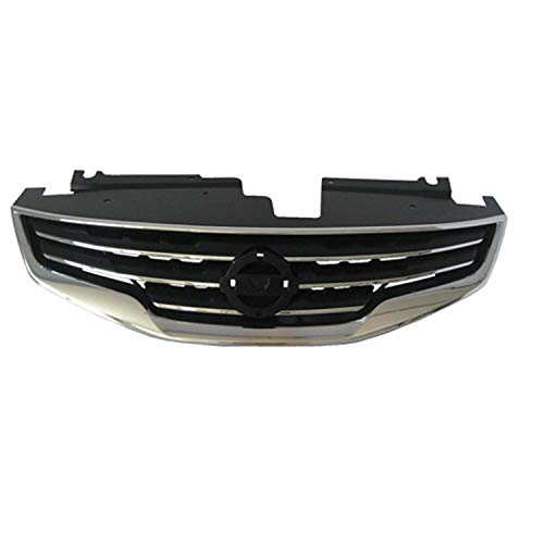 New Front Grille For 2010-2012 Nissan Altima, Made Of Plastic, For Sedan And Hybrid Models, Chrome/Black NI1200236