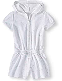 Wonder Nation Girls Hooded Romper Zip Front Terry Swimsuit Cover Up (White Zipper Romper, XX-Large 18)