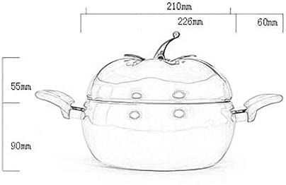 LIUSHI Marmite en Aluminium antiadhésive avec Couvercle, Casserole à Sauce en Forme de Tomate émaillée coût Soupe Hot Pot en Acier Inoxydable ménage Cuisson Vert Clair 2.74 Quart