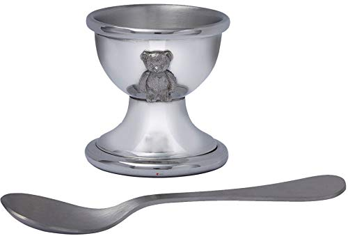 - Child's Spun Pewter Egg Cup with Teddy and Stainless Steel Spoon