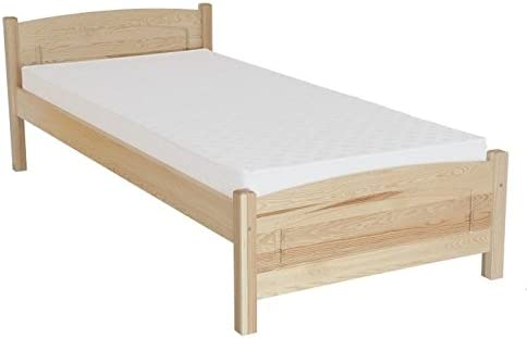 Somier/cama en madera natural{80} maciza de pino, con somier ...