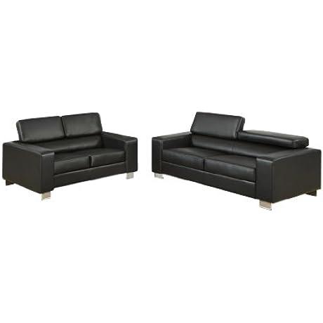 Furniture Of America Bloomsbury 2 Piece Bonded Leather Match Sofa Set Black