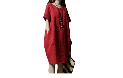 Summer Solid 4 3 Wine Linen Dress Coolred Sleeve Red Loose Color amp;Cotton Women Pockets wx6Yf4UX
