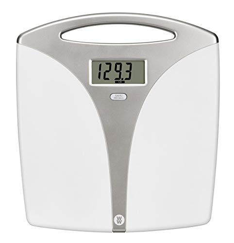 Ww Scales by Conair Portable Precision Plastic Electronic 5 Weight Tracker Bathroom Scale with Carry Handle; Measures Weight to 400 Lb; Silver & White Bath Scale - Weight Watchers Reimagined
