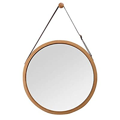 Hanging Round Wall Mirror in Bathroom & Bedroom - Solid Bamboo Frame & Adjustable Leather Strap,Dressing Makeup Home Decor