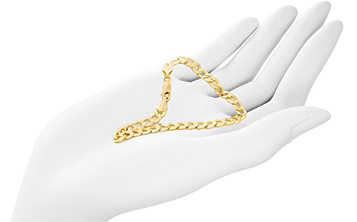 Solid Gold Light Curb Chain Bracelet 14K Yellow Gold 5.7mm Wide Available in Lengths 7 to 8 1/2