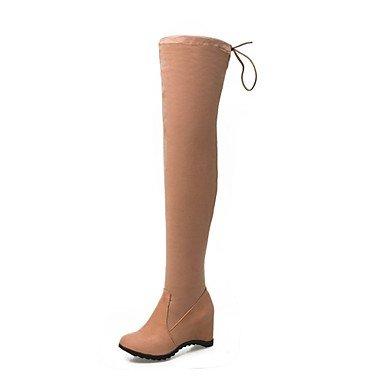 Vino Casual Amarillo RTRY Botas Talón Boots Noche EU35 Invierno Botas Por Parte Zapatos UK3 High Thigh De CN34 US5 Slouch Mujer Moda Polar Redonda Botas Cuña Toe De amp;Amp; qrRgwxqS