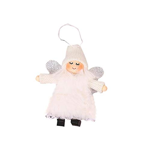 Fan-Ling Plush Angel Creative Cartoon Wings Pendant,Creative Christmas Tree Decoration,Pompoms Pendant Holder,Bag Pendant Car Accessory,Cute Decor Ornaments,10.5x9CM (White)