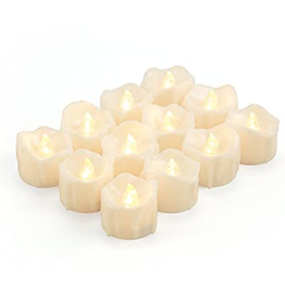 LED Tea Lights Candles, Kohree Flameless Candles Battery Operated LED Candles, Flickering Tealight Candles, Pack of 12, Warm White