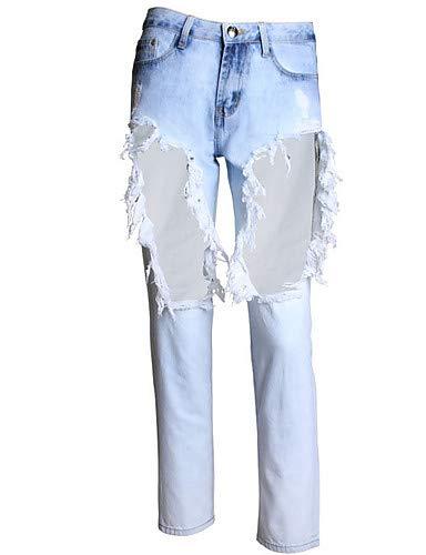 YFLTZ Light Verano Color sólido Jeans Mujeres Pantalones Blue Salir básicos Primavera para qZqr7