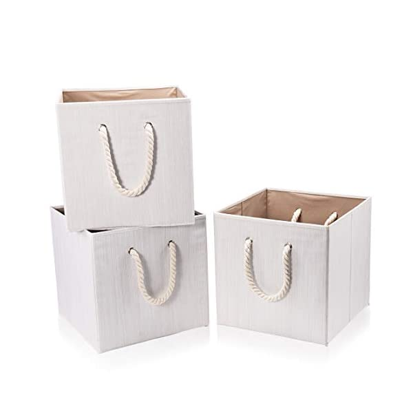 Robuy Set of 3 Beige Foldable Bamboo Fabric Cube Storage Bins with Cotton Rope Handle, Collapsible Resistant Basket Box Organizer for Shelves Size (13×13 x13 inch)