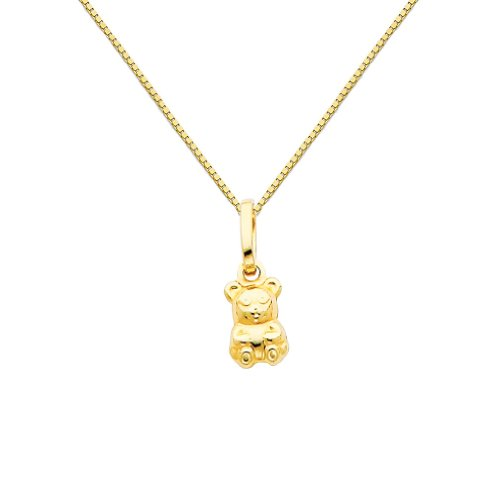 GM Fine Jewelry 14k Yellow Gold Teddy Bear Charm Pendant with 0.65mm Box Link Chain Necklace - 16