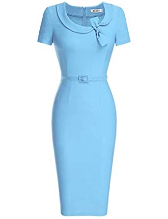 MUXXN Women's Audrey Hepburn Style Short Sleeve Belt Waist Cocktail Tea Dress - - Small