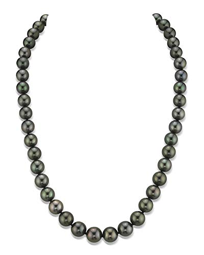 THE PEARL SOURCE 14K Gold 8-10mm Round Genuine Black Tahitian South Sea Cultured Pearl Necklace in 18