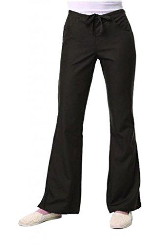 maevn Womens V-neck Dos Pocket Scrub superior y Flare leg Pant Set negro