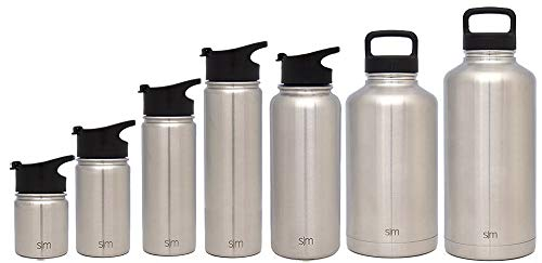 Simple Modern 40 oz Summit Water Bottle - Stainless Steel Hydro Metal Flask +2 Lids - Wide Mouth Double Wall Vacuum Insulated Silver Large 2 Liter Half Gallon Cold Leakproof Thermos - Simple Stainless by Simple Modern