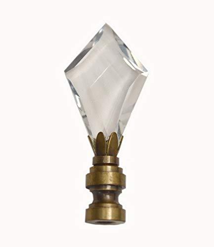 LED4RV Pretty Clear Crystal Diamond Cut Finial with Brass Base