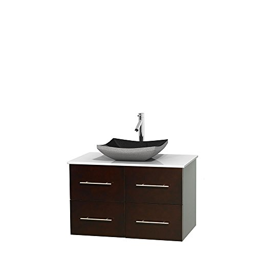 UPC 700161130102, Wyndham Collection Centra 36 inch Single Bathroom Vanity in Espresso, White Man-Made Stone Countertop, Altair Black Granite Sink, and No Mirror