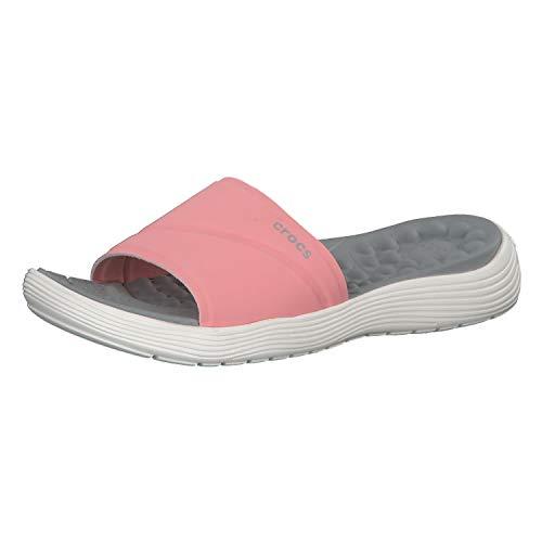 Crocs Women's Reviva Slide Sandal, Melon/White, 9 M US