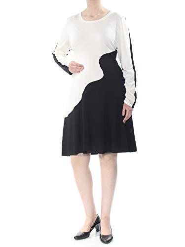 DKNY Womens New 1310 Black Color Block Sweater Long Sleeve Dress XL B+B ()
