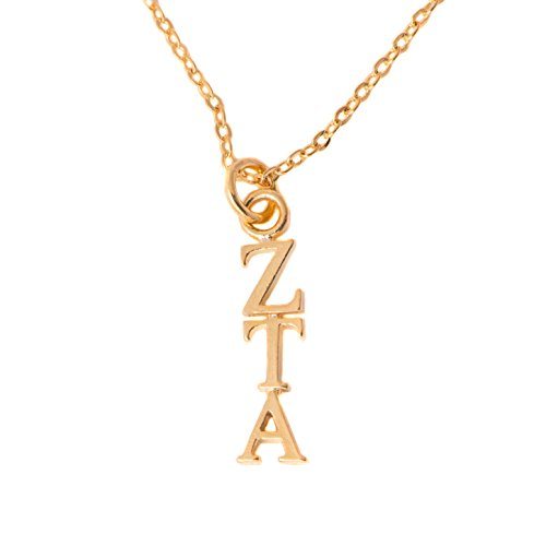 Desert Cactus Zeta Tau Alpha Sorority 24k Gold Plated Lavalier Letter Necklace with Chain ZTA (24k Lavalier)