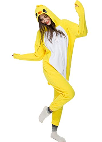 Unisex Animal Halloween Yellow Chicken One-Piece Pyjamas Jumpsuit Cosplay Costumes Adult Womens Men -