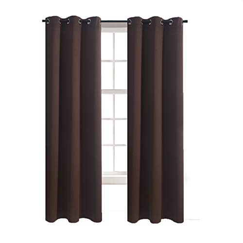 - Aquazolax Grommet Blackout Curtain Panels Set Plain Blackout Window Curtains 42x84-Inch Thermal Insulated Readymade for Bedroom, 2 Panels, Toffee Brown