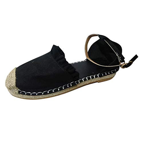 Hot Sale! Women Sandals, Neartime 2018 New Lace-Up Espadrilles Summer Chunky Holiday Sandals Outdoor Flat Shoes (US:8, Black)