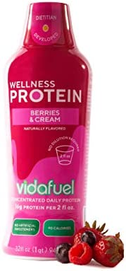 VidaFuel Daily Wellness Protein, Berries and Cream, Collagen and Whey, Bone and Joint Support, Increased Strength, Immune Boosting, Hair and Skin Health, No Artificial Sweeteners, 32 fl. oz. Bottle