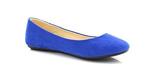 Barenx Womens Round Toe Ballet Flat Blue