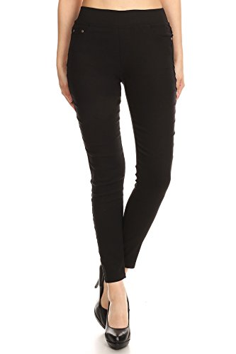 MissMissy Women's Casual Color Denim Slim Fit Skinny Elastic Waist Band Spandex Jeggings Ankle Jeans Pants (Large, Black) by MissMissy