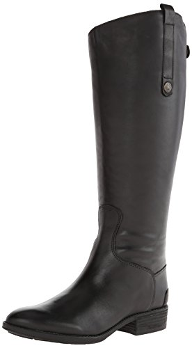 Shaft Boots Women - Sam Edelman Women's Penny 2 Wide Shaft Riding Boot, Black Leather, 9.5 M US