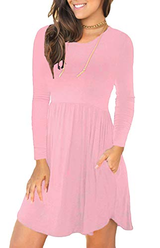 LONGYUAN Women's Casual Loose Plain Dresses Short Dress Small, Pink]()