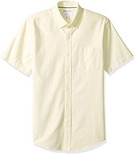 Amazon Essentials Men's Slim-Fit Short-Sleeve Pocket Oxford Shirt, Yellow, X-Large